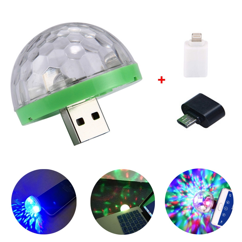 Adeeing usb luz de discoteca luzes led festa portátil bola mágica cristal colorido efeito estágio lâmpada para festa em casa karaoke decoração