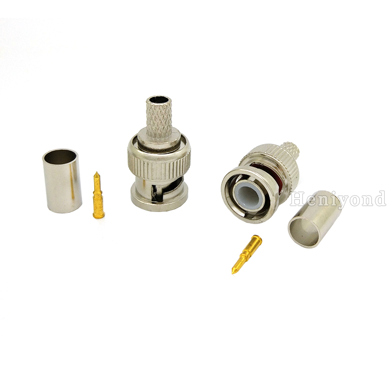 Image 2 - Freeshipping 10PCS BNC Male Crimp Plug for RG59 Coaxial Cable RG59 3 piece Crimp Connector Plugs RG59-in Transmission & Cables from Security & Protection