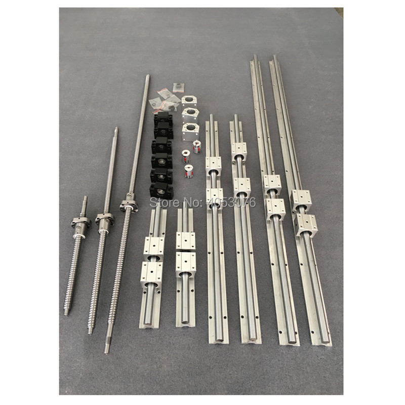 SBR20 6 sets linear guide rail SBR20- 300/600/1000mm+SFU 1605- 350/650/1050mm ballscrew+BK12/BK12 + cnc parts 6sets linear guide rail sbr20 500 1300 1600mm sfu 1605 450 1550 1550mm ballscrew bk12 bk12 nut housing 3 coupler for cnc