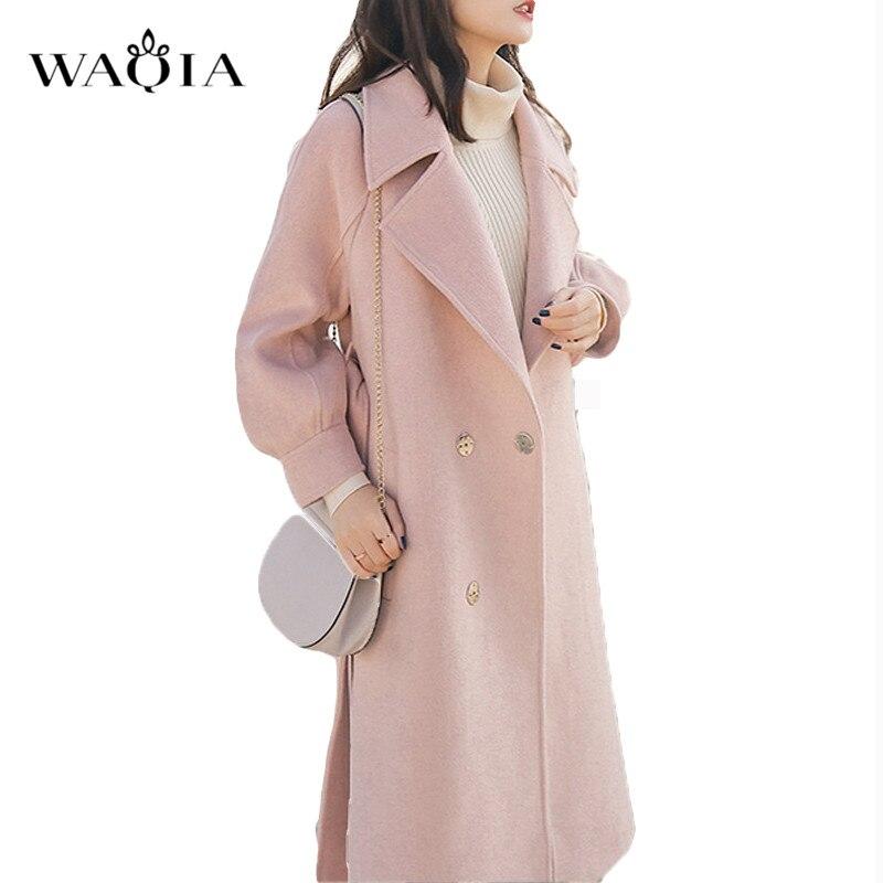 Lana Ajustable Abrigos Oficina Elegante Turn Más Invierno Caliente rosado  Suelta Mujeres Caramel down Mezclas Waqia ... ba7a2fb912cf