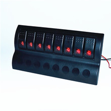 8 Gang Aluminium red LED Rocker Switch Panel / waterproof car boat marine switch panel RV