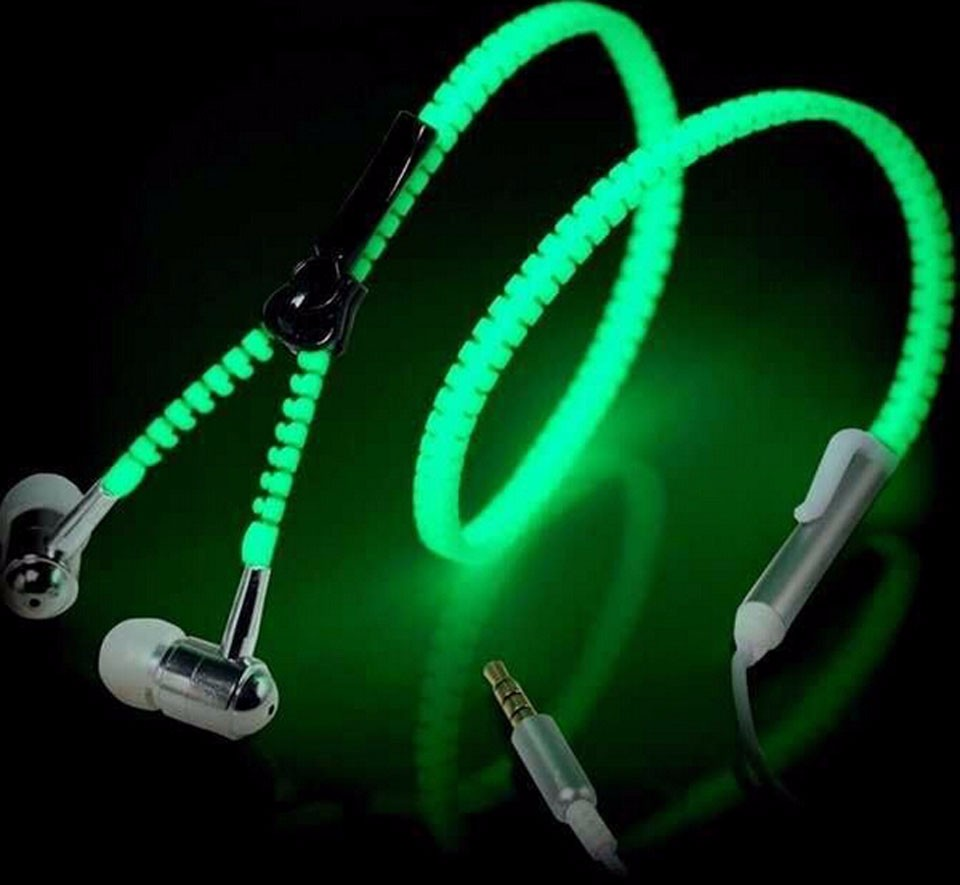 Hot Sale Glow In The Dark Earphones Glow Earbuds Metal Zipper Glowing Headset Luminous Light Stereo