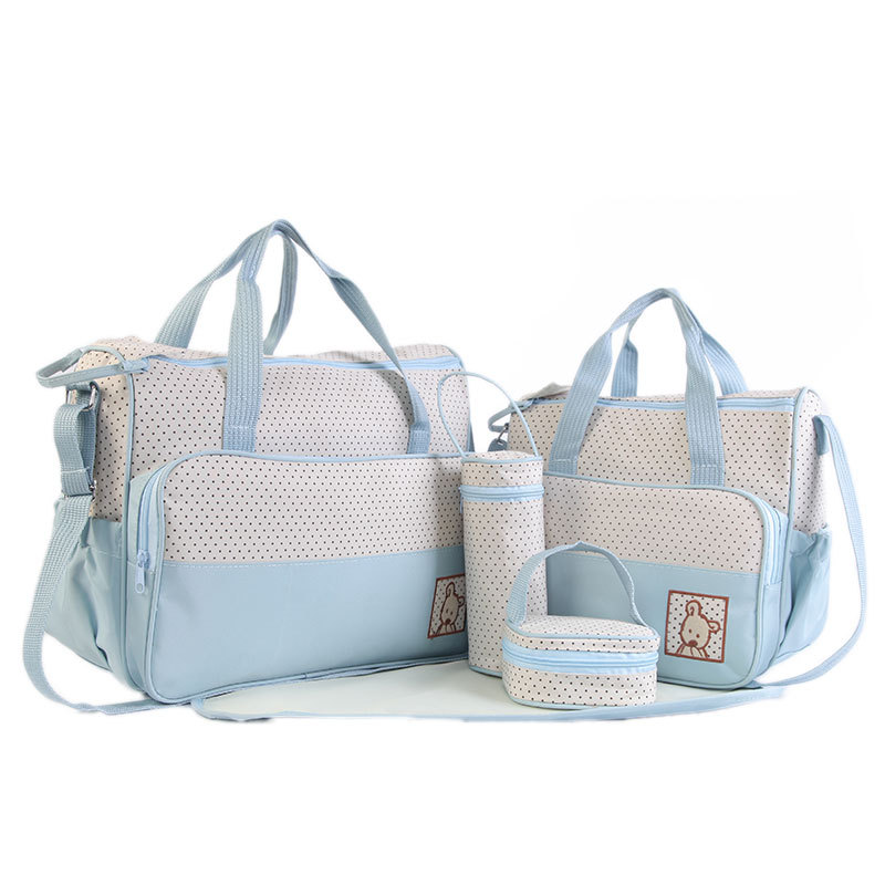 5Pcs/Set Large Capacity Baby Diaper Set Bag Stroller Mummy Maternity Nappy Bags Handbag Set With Changing Pad For Baby Care