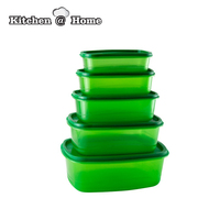 5 PCS Set Green Plastic Food Storage Container Fresh Refrigerator Storage Box Crisper BPA Free