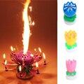 Hermosa Musical Lotus Flower Party Feliz Cumpleaños Regalo de Rotación Luces Decoración 8/14 Lámpara de Velas EJ874164