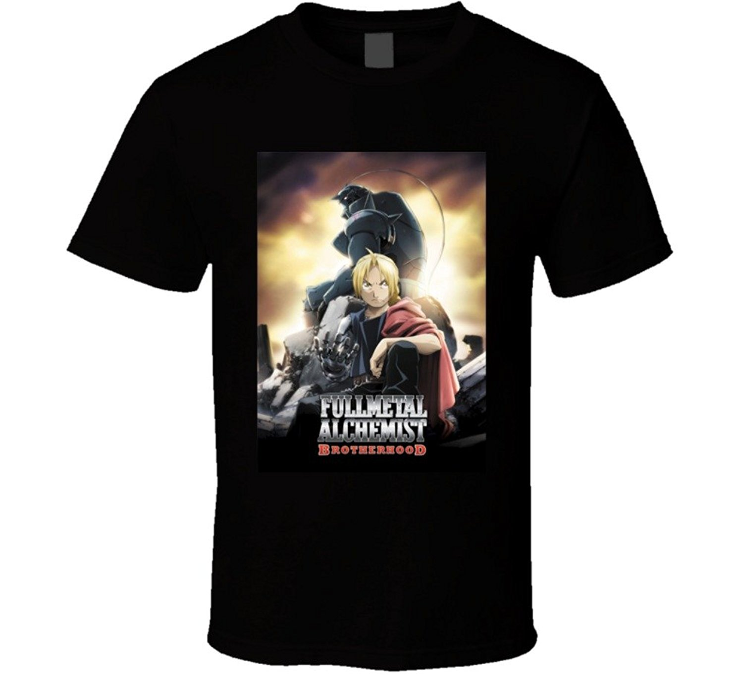 Fullmetal alchemist brotherhood anime tv show poster cool fan t shirt cotton t shirt fashion free shipping in t shirts from mens clothing on aliexpress com