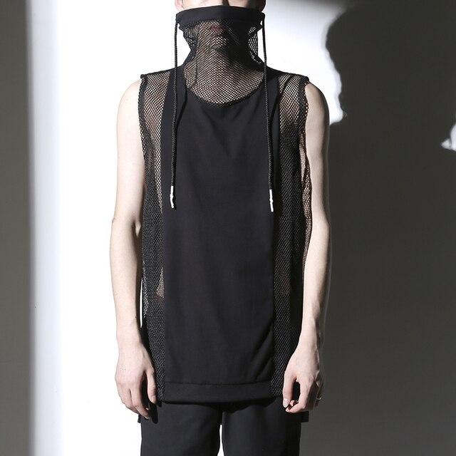 2016 летние сексуальные топы мужчин-черный цвет рукавов Slim fit корея прохладный панкрок 90% хлопок