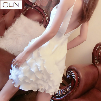 цена на New Korean temperament sling V-neck pleated wooden ear high waist backless short dress small white dress