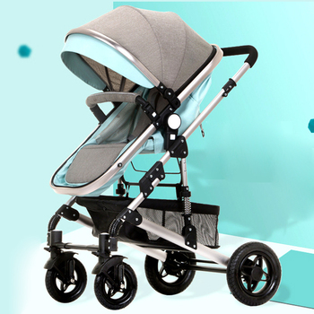 High Landscape Aluminum Alloy Baby Stroller Baby Sleeping Basket Baby Car Umbrella Handle Car Can Sit and Fold Baby Carriage