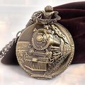 Classical Railroad Steam Train Pocket Watch Bronze Tone