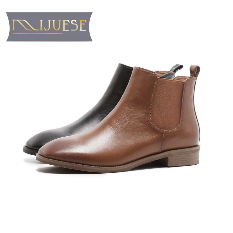 MLJUESE 2018 women boots cow leather brown color slip on round toe autumn spring Chelsea boots female boots casual boots