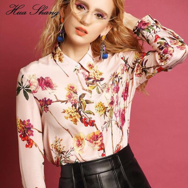 2016 Mulheres de Verão Camisas de Manga Longa de Impressão Floral Rosa S-XXL Plus Size Mulheres Blusa Magro Camisas de Trabalho de Escritório