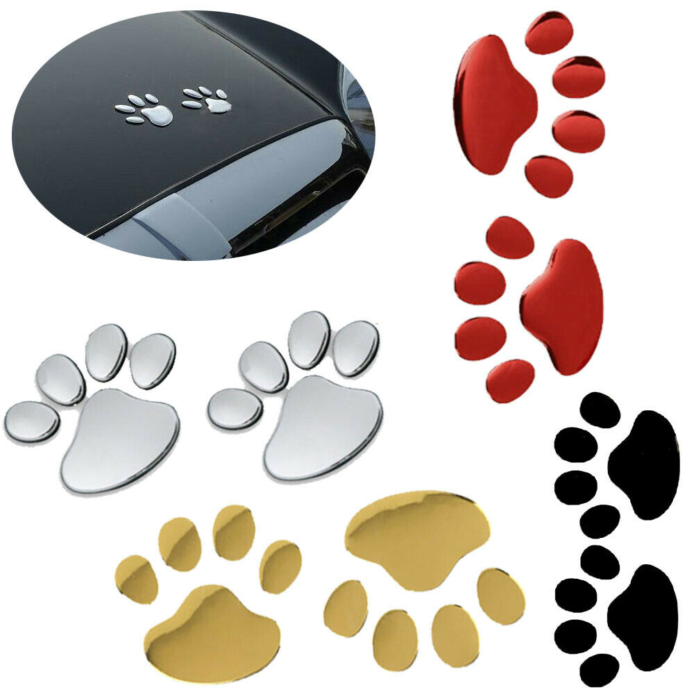 2pcs/lot Decoration Bear Foot Cartoon Car Sticker 3D Print Cute Footprint  Animal Dog Cat Panda Paw Auto Motorcycle Home Decal