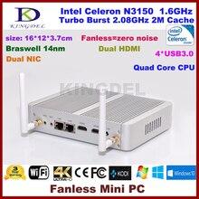 Безвентиляторный ПК Intel Celeron N3150 микро-компьютер, 4 ГБ Оперативная память + 128 г SSD, 2 * HDMI, 2 * lan, 4 * USB 3.0 300 м WI-FI NC690
