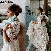 Vestido de novia bohemio rústico de encaje beige con espalda abierta con mangas Vintage Boho playa vestidos de boda vestido de novia de talla grande