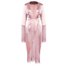KANCOOLD Dress Women Sexy Tassels Deep V-Neck Long Sleeve Dress Tassel Evening Long Sheath fashion Dress women 2018DEC13