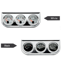 Water Temp Oil Pressure Volt Gauge 52mm 3 in 1 Triple Gauge Kit Chrome Bezel Black/White Face Color With Temp & Pressure Sensor