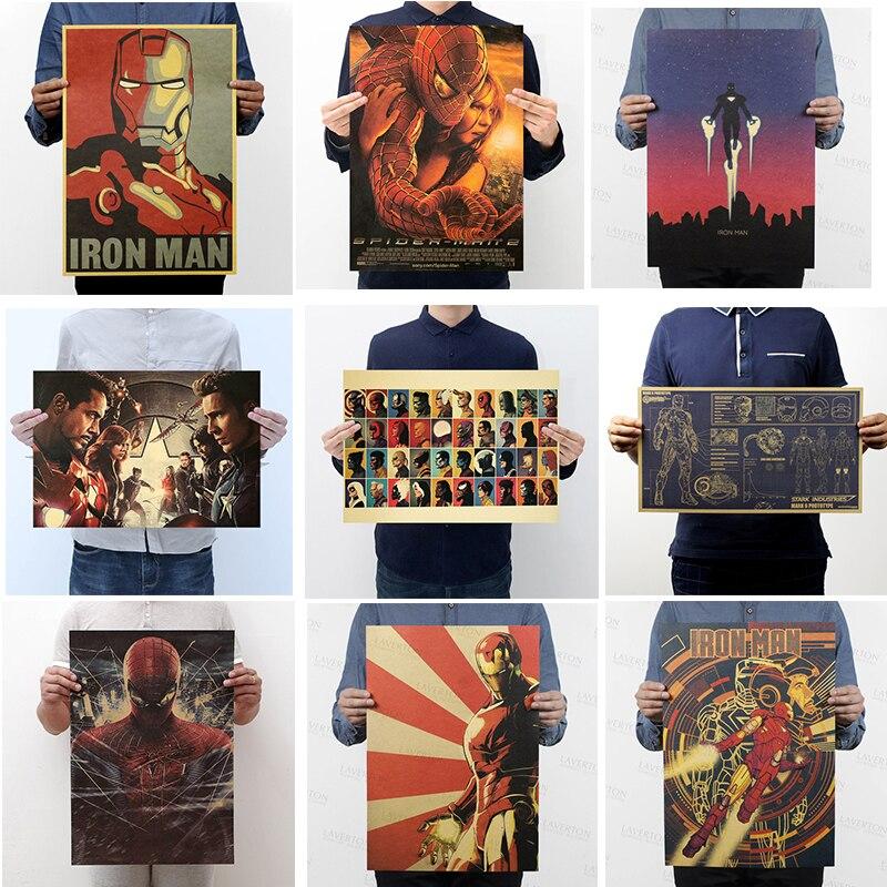 marvel-hero-figures-toys-iron-man-captain-america-the-font-b-avengers-b-font-vintage-kraft-paper-home-decor-art-retro-prints-boys-toy-figures