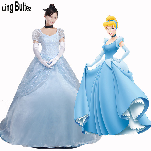 Ling Bultez High Quality Princess Cinderella Dress Blue Princess Costume Stage Princess Blue Dress Adult Cinderella  sc 1 st  AliExpress.com & Ling Bultez High Quality Princess Cinderella Dress Blue Princess ...
