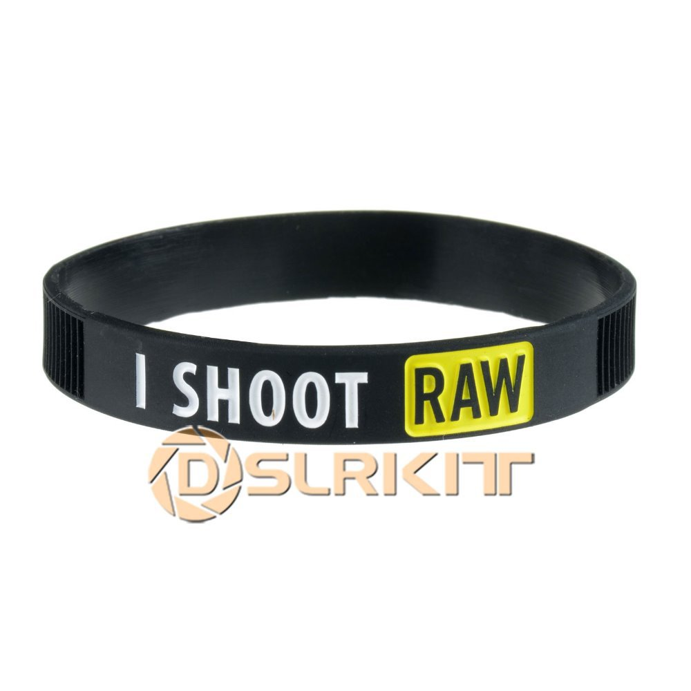 Yellow I SHOOT RAW Silicone Bracelet Photographer's Wristband