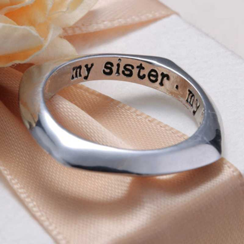 1 Pc Schwester Meine Freund Ring Liebe Herz Öffnung Ring Für Familie Schwester Beste Freunde Silber Schmuck Für Frauen