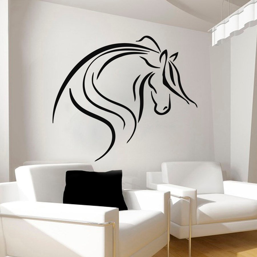 ZOOYOO Creative Head Of Horse Wall Decal Vinyl Removable Home Decor ...