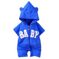 Hooded Rompers For Baby Boy Girl Letter Print Fashion Clothes Outerwear Sport Jumpsuit Bebe Cloth Infant Short Sleeve Romper
