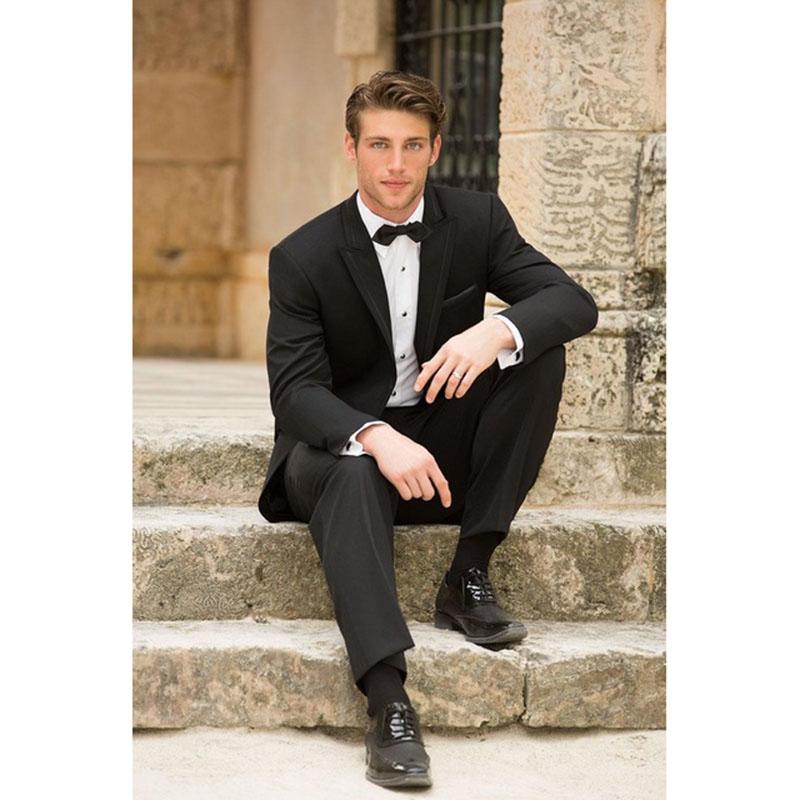 718 Fall series handmade wedding dresses men suit a button notched lapel business groom men dress suits (jacket+pants)