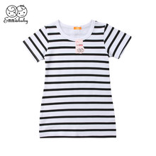 Fashion Girls Dress Summer Short Sleeve Black and White Stripe Dresses Brife Toddler Kids Cotton Clothes Children's Clothing(China)