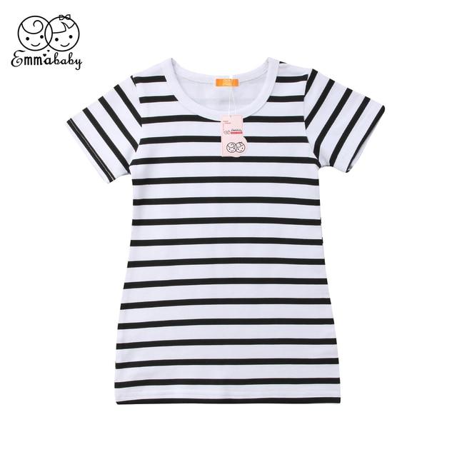 e323b2a084b2 Fashion Girls Dress Summer Short Sleeve Black and White Stripe Dresses  Brife Toddler Kids Cotton Clothes Children's Clothing