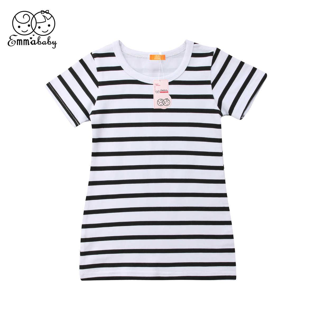 Thời trang Cô Gái Ăn Mặc Mùa Hè Ngắn Tay Áo Màu Đen và Trắng Sọc Dresses Brife Toddler Trẻ Em Bông Quần Áo Trẻ Em Quần Áo