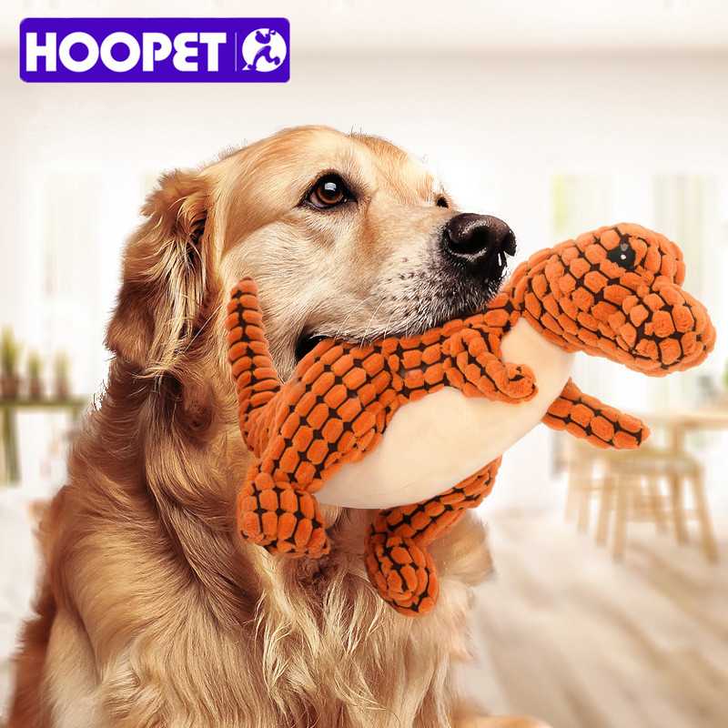 Hoopet Large Dog Toys Chewing Toys Corn Kernels Material Durable Noise Maker Squeakers Toy for Dog Dinosaur Animal Shape