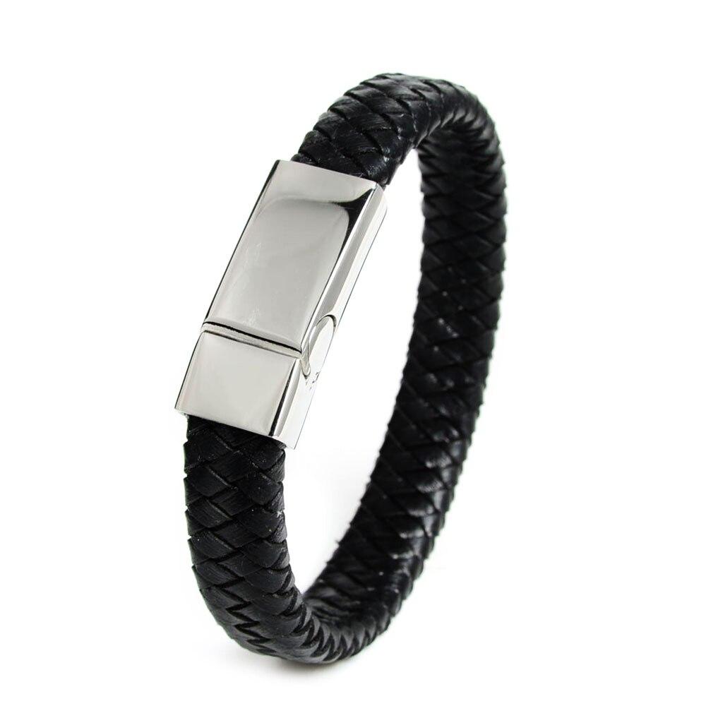 2016 Trendy 12mm Black Braided Genuine Leather Men Bracelet Stainlees Steel Cuff  Bracelets & Bangles Bracelet