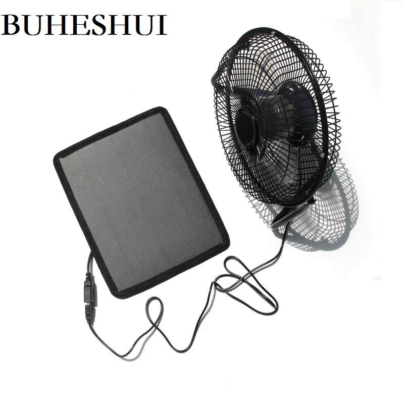 BUHESHUI USB 6 W ventilateur de fer 8 pouces Ventilation de refroidissement ventilateur de refroidissement de voiture + panneau solaire alimenté en plein air voyage pêche bureau à domicile