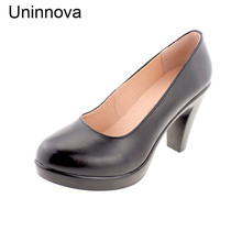 Uninnova Women's High Heel Black Pumps Working Career Shoes Genuine Leather Shoes Slip on Extral Small Size 32 Plus 43 WP078
