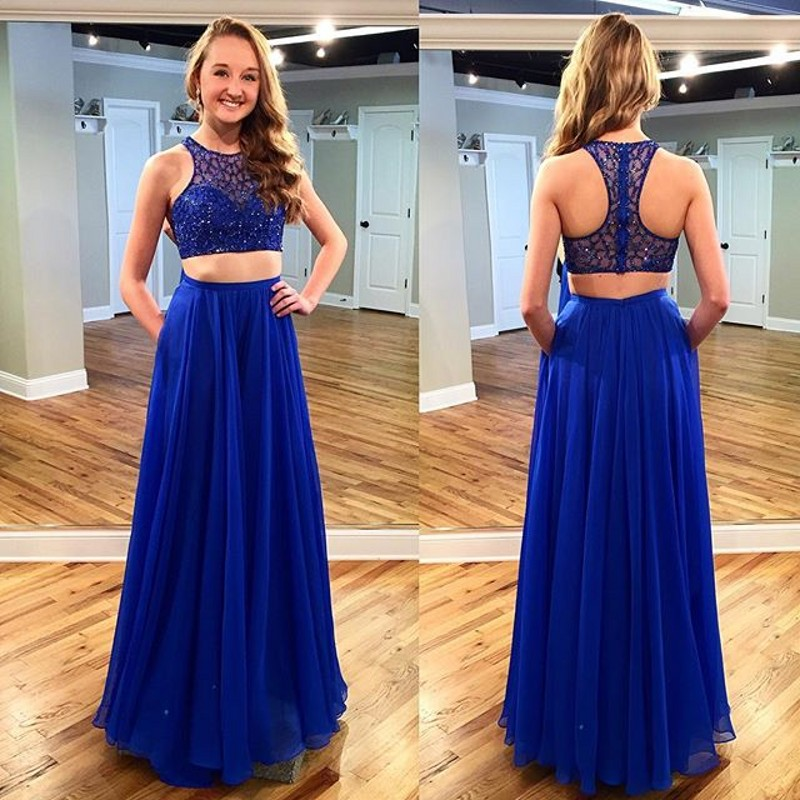 f2dfd513de7 Two Piece A-Line Chiffon Blue Long Evening Dresses 2018 Scoop Tank Beading  Pockets Prom Gowns Custom Made Special Occasion Dress