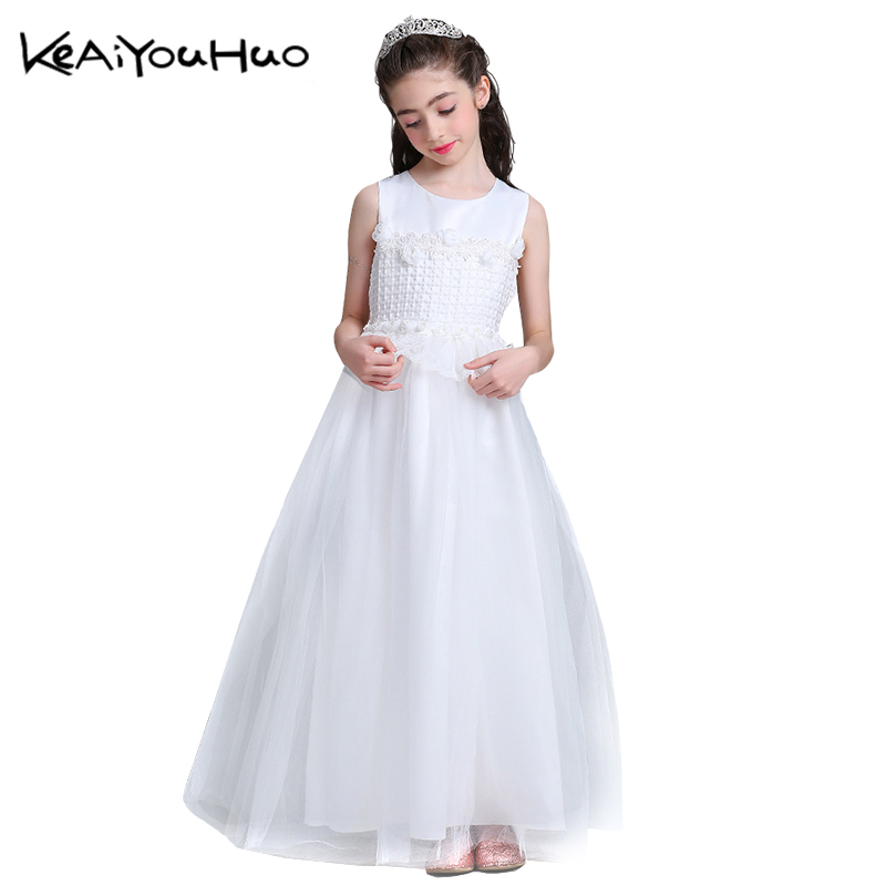 KEAIYOUHUO Flower Summer 2018 Party Dress For Girls Wedding Dresses White Lace Ball Gown First Communion Clothes Vestido 6-15 Y lace design white flower rose invitation card kit for wedding paper blank printing invitations cards set party festivals invite