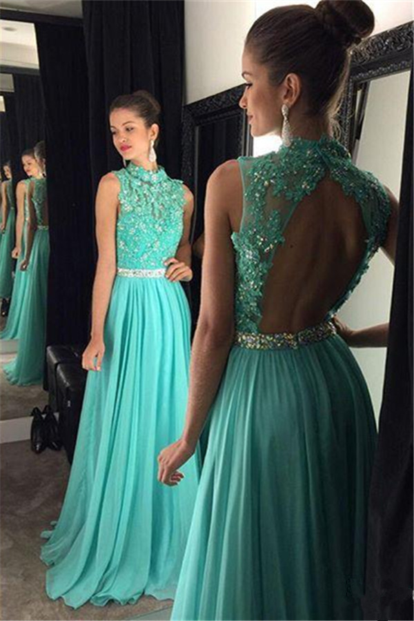 teal turquoise sexy backless luxury rhinestone evening formal dress for wedding 2016 lace a line chiffon