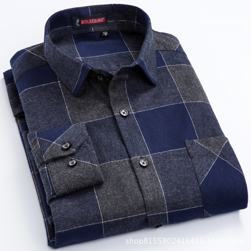 High Grade Autumn/ Winter 100% Cotton Soft Brushed Fabric  Slim Fit Long-sleeved Business Mens Casual Plaid Flannel Shirts