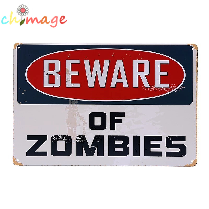 BEWARE OF ZOMBIES vintage Tin Sign Bar pub home Wall Decoration Retro Metal Art Poster
