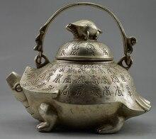 Old Handwork Tibet Silver Carved Tortoise Big Teapot exquisite Marble Art Rare Vintage Decoration real Tibetan Brass