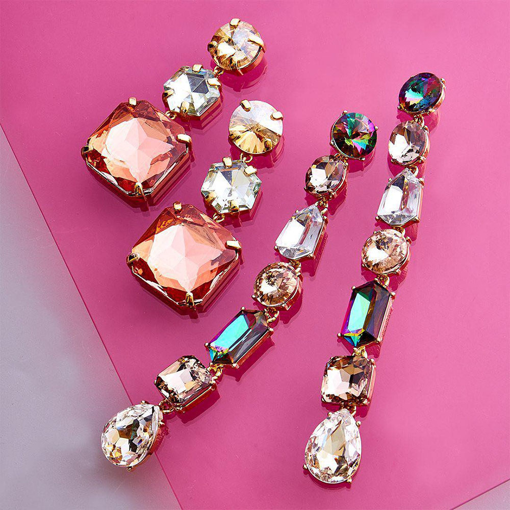 Dvacaman Drop-Earrings Party-Jewelry Crystal Rhinestone Bridal Bling Girls Colorful Wholesale