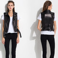2016 new women genuine leather vest sleeveless sheepskin leather motorcycle vests Turn-down Collar slim Waistcoat leather coat