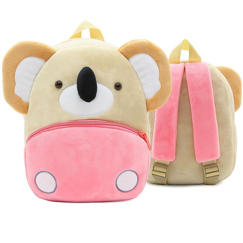 Children School Backpack Cute Cartoon Koala Design Comfortable Soft Plush Material For Toddler Baby Kindergarten Kids Snacks Bag