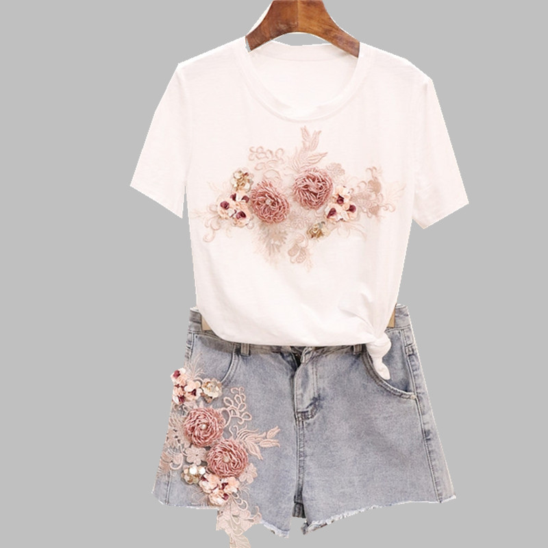 HAMALIEL L-5XL Plus Size Women Floral Embroider White Tshirts Suits + Summer Blue Jeans Tassel Floral Short Pants Sets For Woman