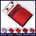Новое поступление мужской галстук устанавливает для свадебных подарков с мужская запонки булавки шарф и коробка красный мужчины галстук комплект формальных