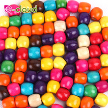 100 Unids 12mm Multi Color de Madera Redonda Trenza de Pelo Dreadlock Beads Cuff Clip Headwear Accesorios Color Al Azar