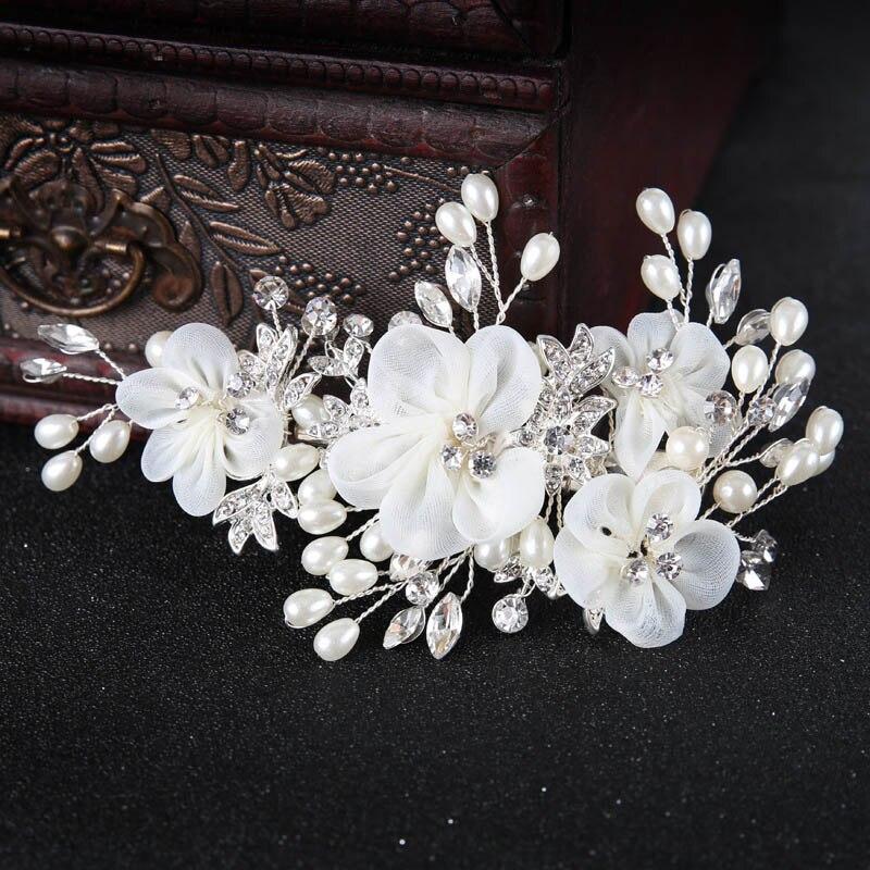 White Flower For Hair Wedding: Elegant Bridal Hair Jewelry Yarn White Flower Pearl Hair