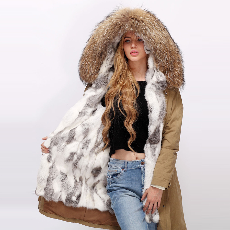 Genuine parka womens with real fur Winter parka Real racoon fur hood Rabbit fur lining parka coat With fur parka 90CM