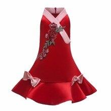 Summer Elegant Dress For Girl Party Dress kids Embroidered Flower Cheongsam Sleeveless Dress Formal Evening Ball Gowns 3-10 year flower embroidered sleeveless maxi dress